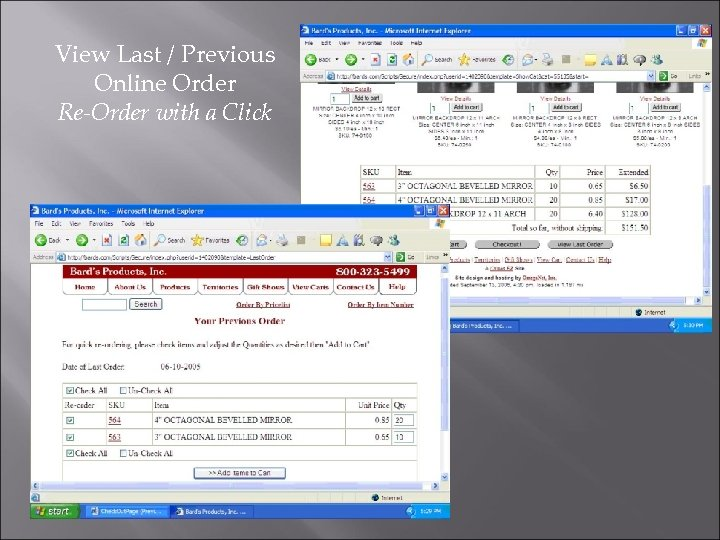 View Last / Previous Online Order Re-Order with a Click