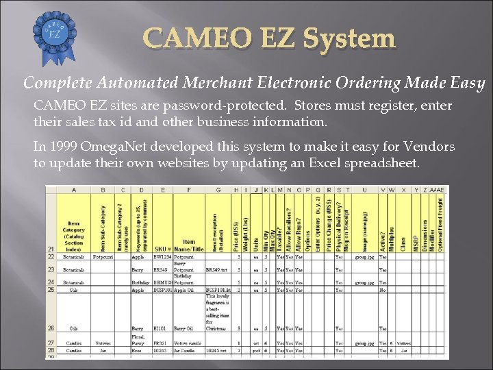 CAMEO EZ System Complete Automated Merchant Electronic Ordering Made Easy CAMEO EZ sites are