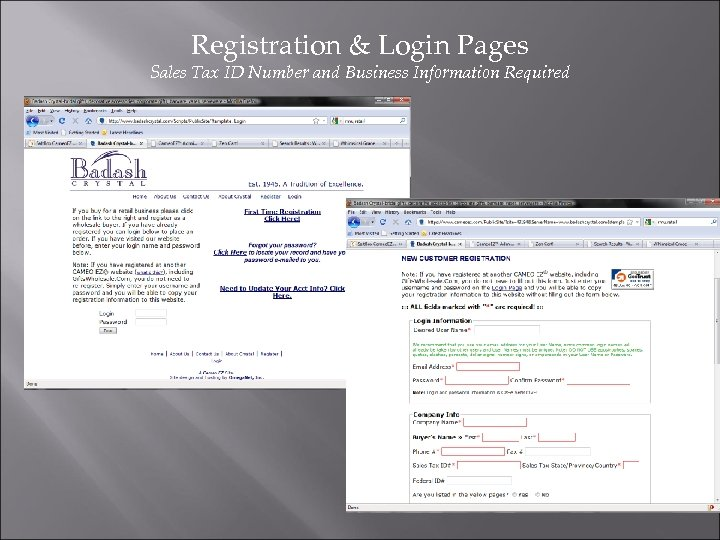 Registration & Login Pages Sales Tax ID Number and Business Information Required