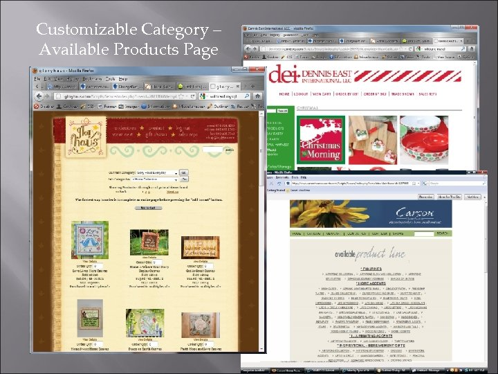 Customizable Category – Available Products Page