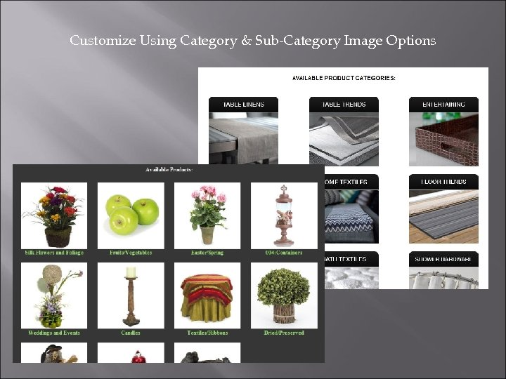 Customize Using Category & Sub-Category Image Options