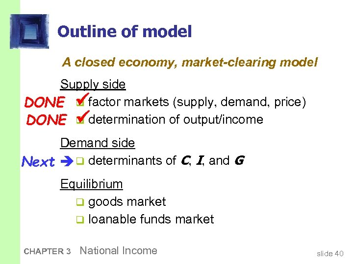 Outline of model A closed economy, market-clearing model Supply side DONE q factor markets