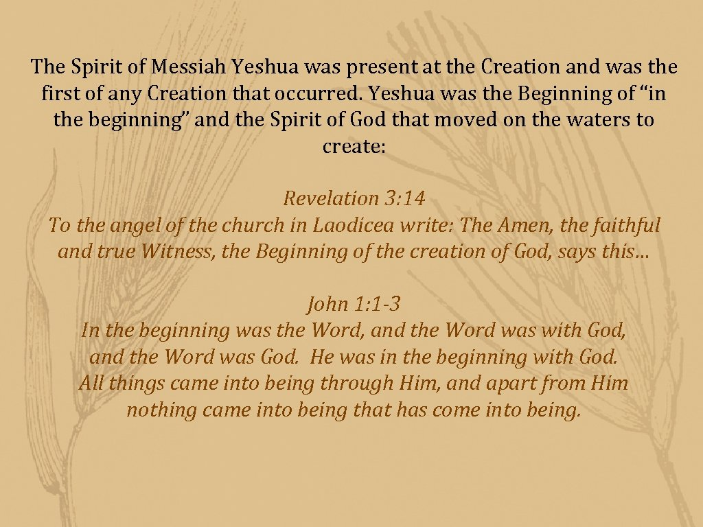 The Spirit of Messiah Yeshua was present at the Creation and was the first