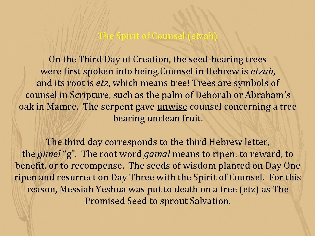 The Spirit of Counsel (etzah) On the Third Day of Creation, the seed-bearing trees