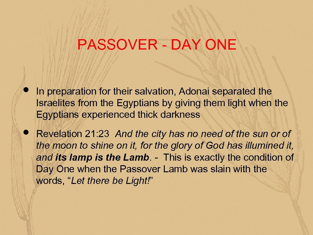 PASSOVER - DAY ONE • • In preparation for their salvation, Adonai separated the