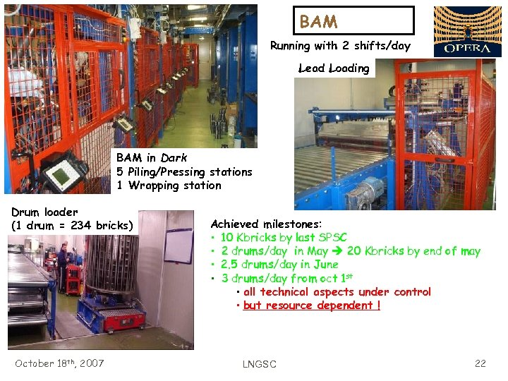 BAM Running with 2 shifts/day Lead Loading BAM in Dark 5 Piling/Pressing stations 1