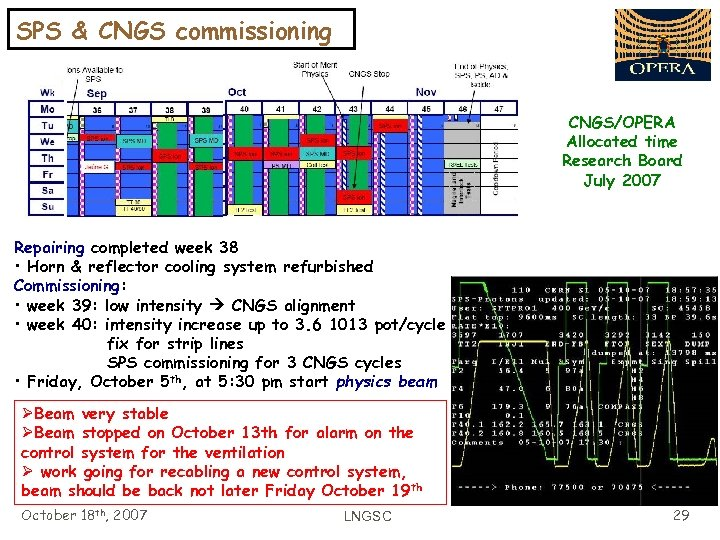 SPS & CNGS commissioning CNGS/OPERA Allocated time Research Board July 2007 Repairing completed week