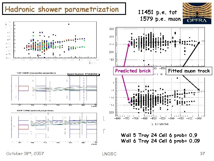 Hadronic shower parametrization 11451 p. e. tot 1579 p. e. muon Predicted brick Fitted