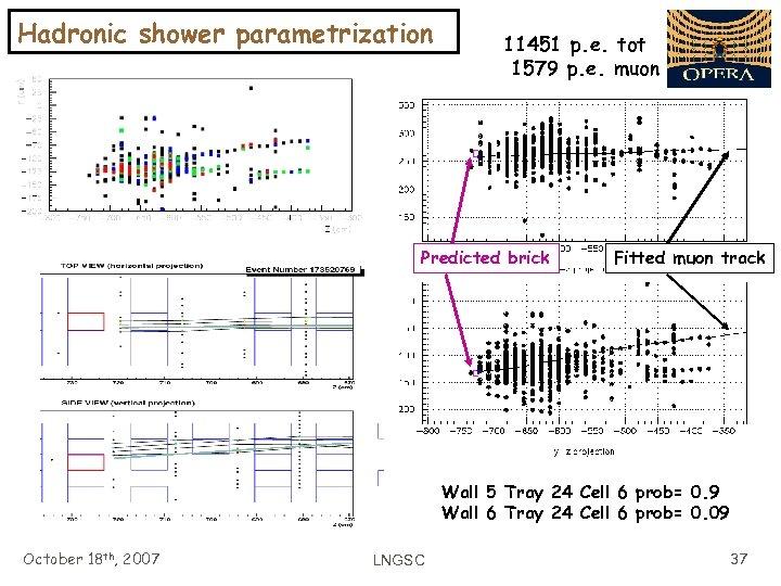 Hadronic shower parametrization 11451 p. e. tot 1579 p. e. muon Predicted brick Fitted