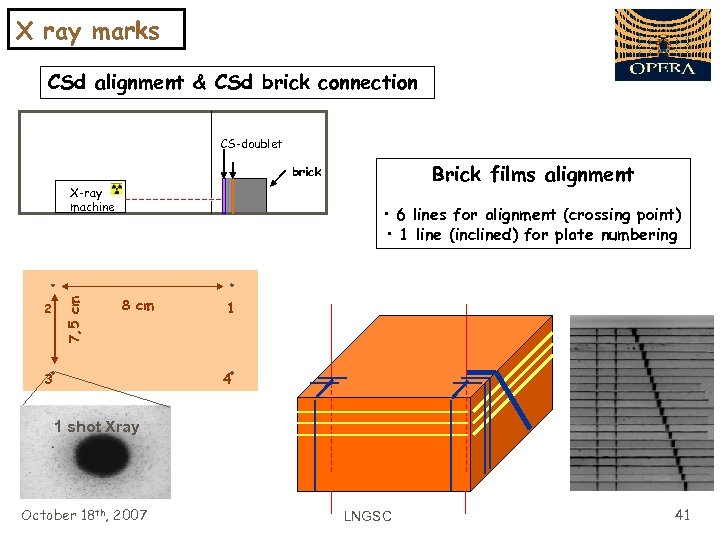 X ray marks CSd alignment & CSd brick connection CS-doublet Brick films alignment brick