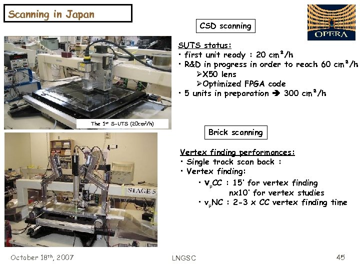 Scanning in Japan CSD scanning SUTS status: • first unit ready : 20 cm²/h