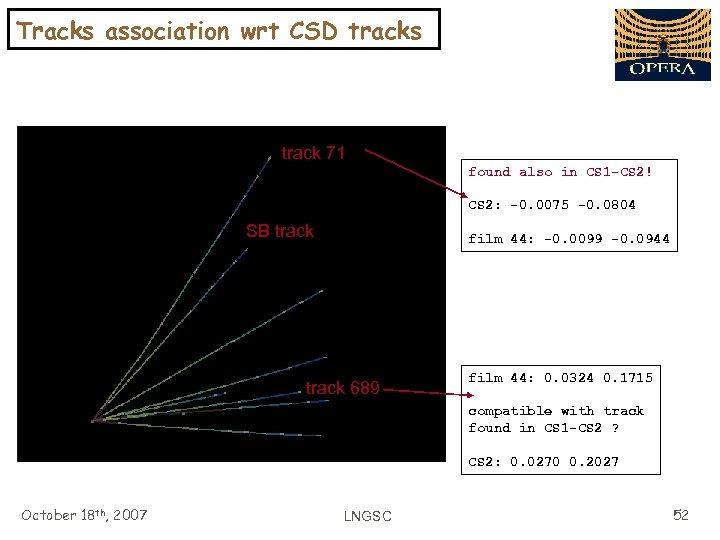 Tracks association wrt CSD tracks track 71 found also in CS 1 -CS 2!