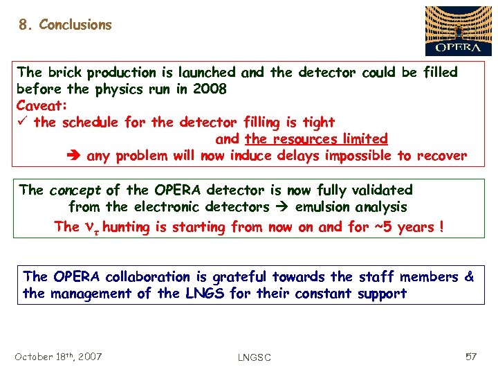 8. Conclusions The brick production is launched and the detector could be filled before