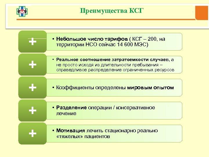 Преимущества КСГ + • Небольшое число тарифов ( КСГ – 200, на территории НСО
