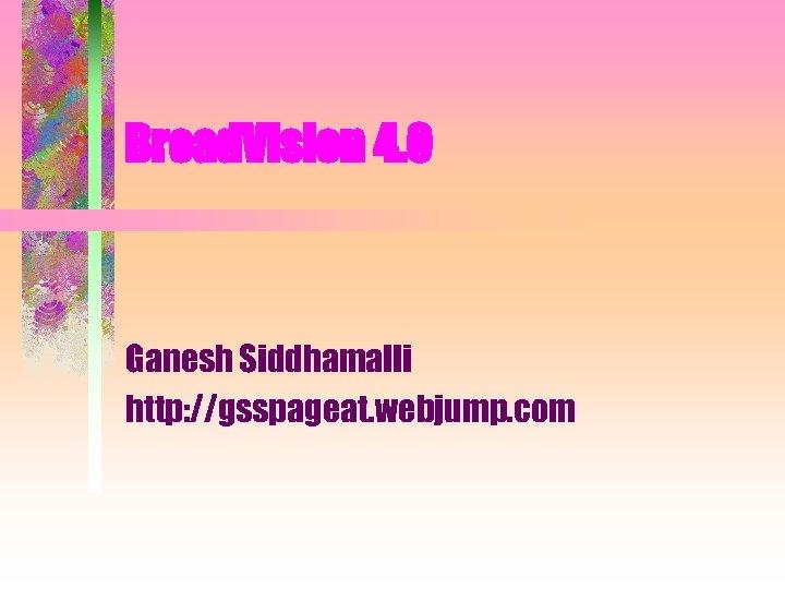 Broad. Vision 4. 0 Ganesh Siddhamalli http: //gsspageat. webjump. com