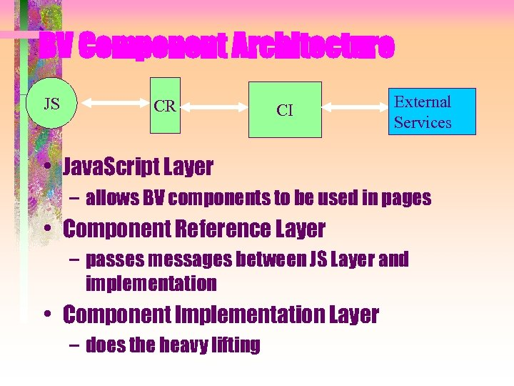 BV Component Architecture JS CR CI External Services • Java. Script Layer – allows