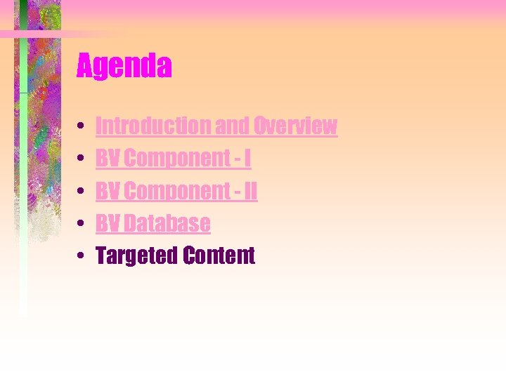 Agenda • • • Introduction and Overview BV Component - II BV Database Targeted