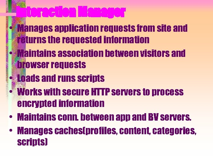 Interaction Manager • Manages application requests from site and returns the requested information •