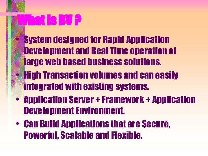 What is BV ? • System designed for Rapid Application Development and Real Time