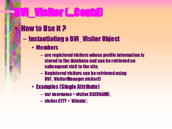 BVI_Visitor (…Contd) • How to Use it ? – Instantiating a BVI_Visitor Object •