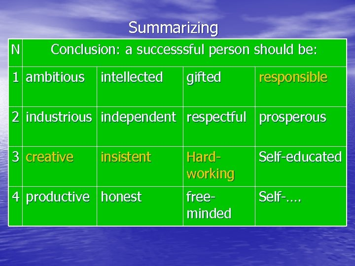 Summarizing N Conclusion: a successsful person should be: 1 ambitious intellected gifted responsible 2