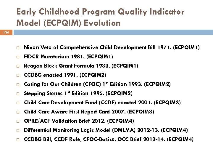 Early Childhood Program Quality Indicator Model (ECPQIM) Evolution 124 Nixon Veto of Comprehensive Child
