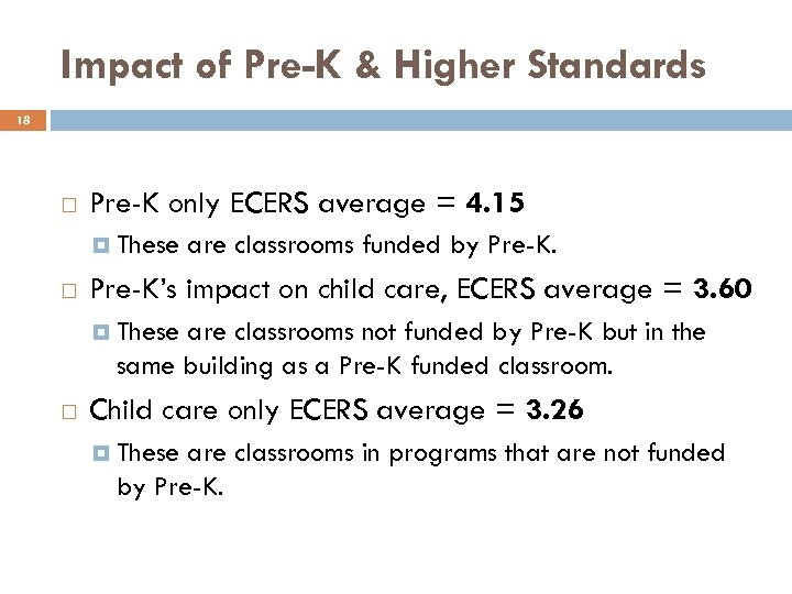 Impact of Pre-K & Higher Standards 18 Pre-K only ECERS average = 4. 15