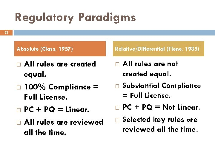 Regulatory Paradigms 22 Absolute (Class, 1957) All rules are created equal. 100% Compliance =
