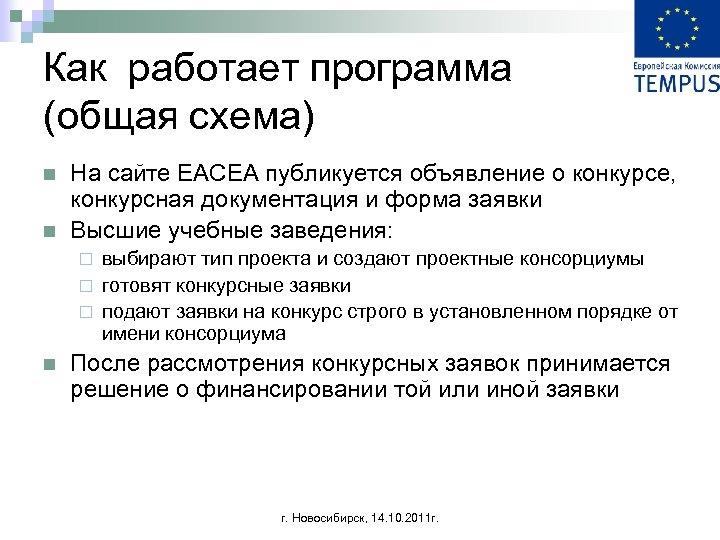 Как работает программа (общая схема) n n На сайте EACEA публикуется объявление о конкурсе,