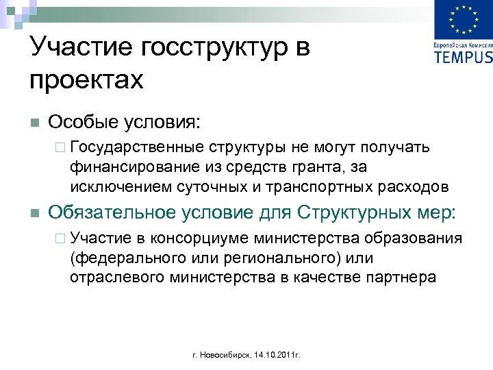 Участие госструктур в проектах n Особые условия: ¨ Государственные структуры не могут получать финансирование