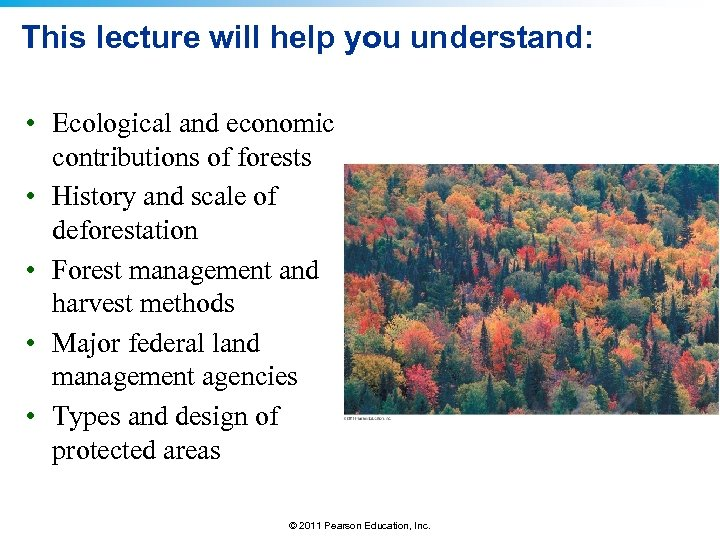 This lecture will help you understand: • Ecological and economic contributions of forests •