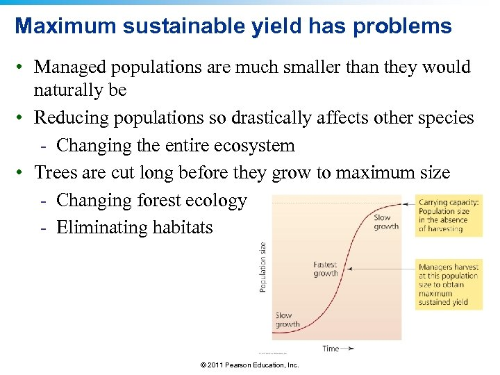 Maximum sustainable yield has problems • Managed populations are much smaller than they would