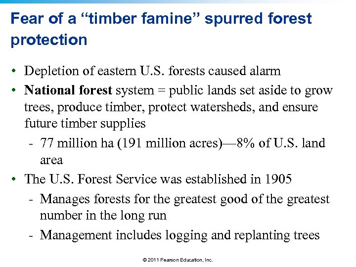 "Fear of a ""timber famine"" spurred forest protection • Depletion of eastern U. S."