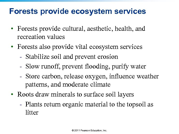 Forests provide ecosystem services • Forests provide cultural, aesthetic, health, and recreation values •