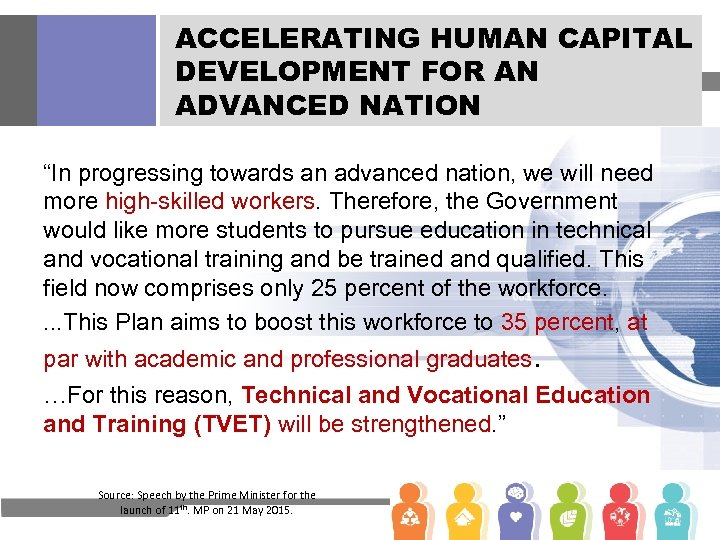 "ACCELERATING HUMAN CAPITAL DEVELOPMENT FOR AN ADVANCED NATION ""In progressing towards an advanced nation,"