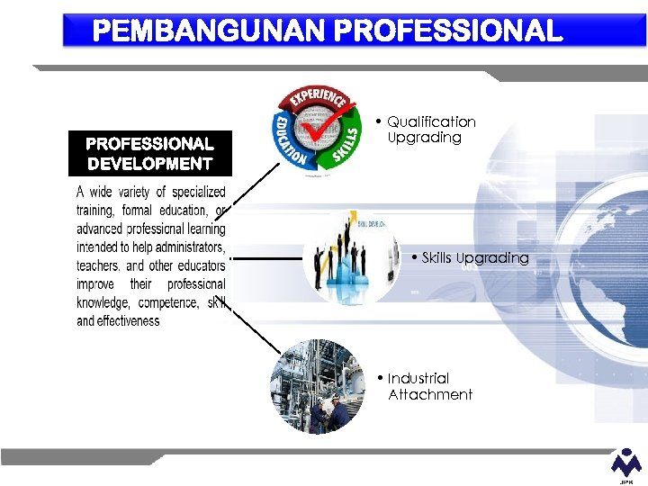 PEMBANGUNAN PROFESSIONAL DEVELOPMENT • Qualification Upgrading • Skills Upgrading • Industrial Attachment