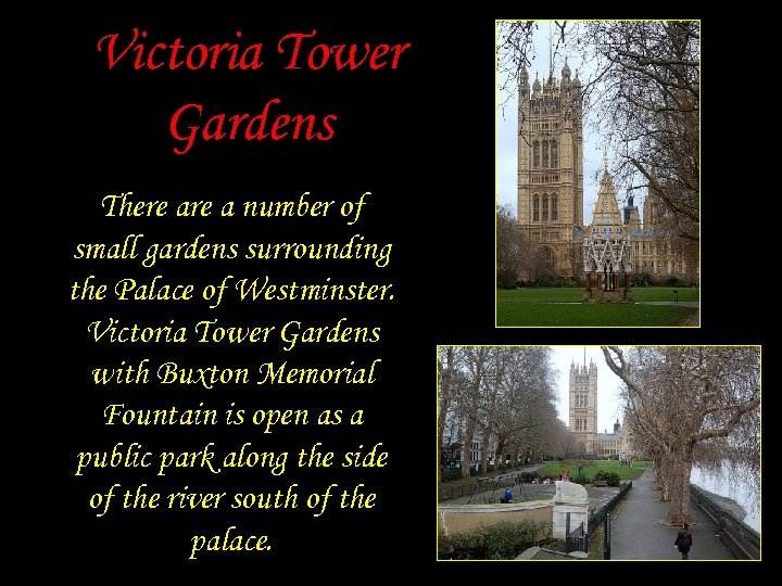 Victoria Tower Gardens There a number of small gardens surrounding the Palace of Westminster.