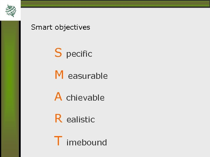 Smart objectives S pecific M easurable A chievable R ealistic T imebound