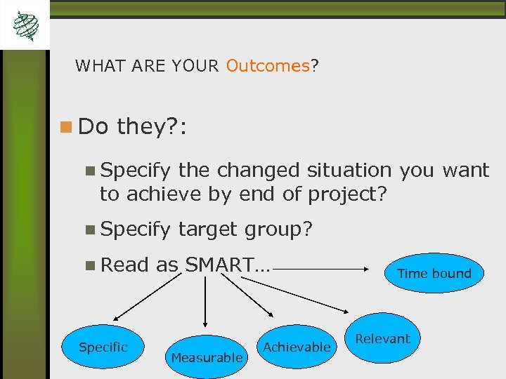 WHAT ARE YOUR Outcomes? Do they? : Specify the changed situation you want to