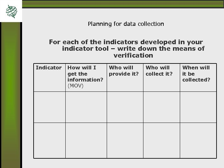 Planning for data collection For each of the indicators developed in your indicator tool