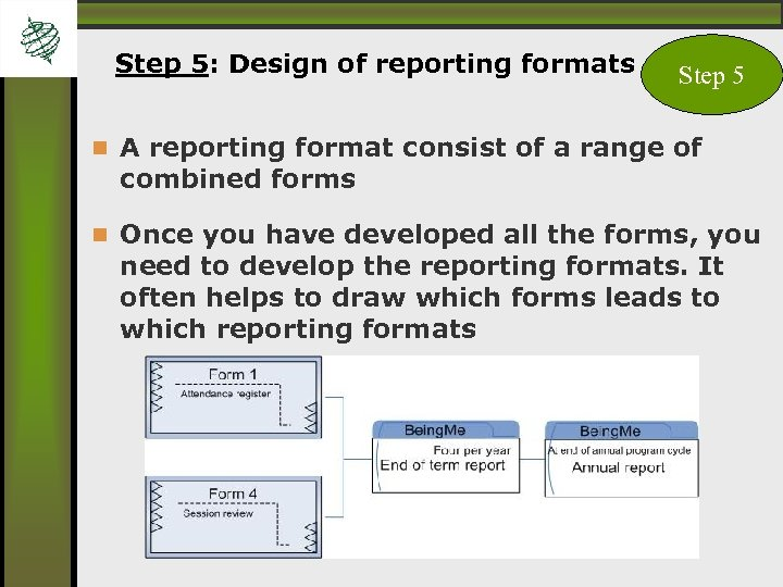 Step 5: Design of reporting formats Step 5 A reporting format consist of a