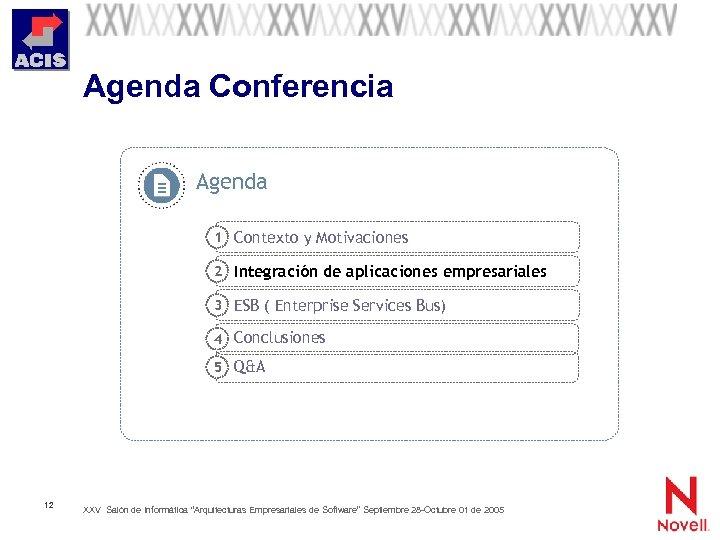Agenda Conferencia Agenda 1 Contexto y Motivaciones 2 Integración de aplicaciones empresariales 3 ESB