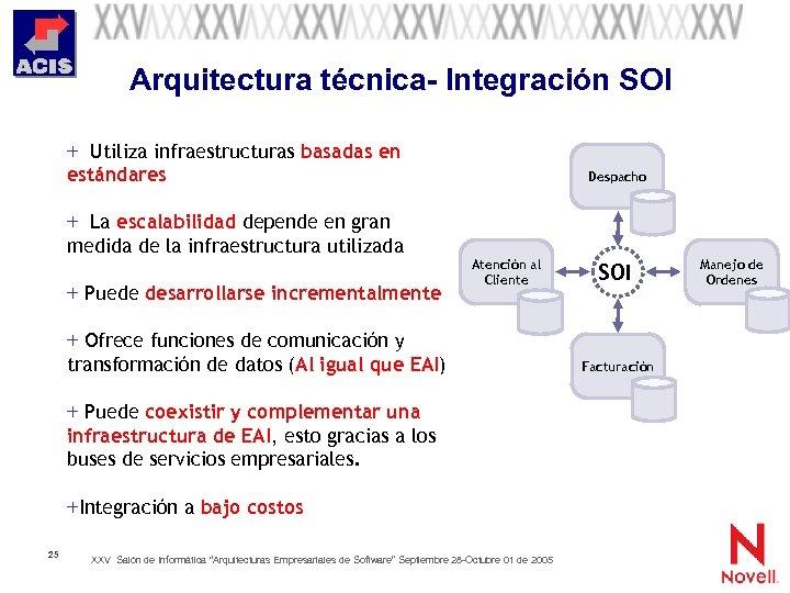 Arquitectura técnica- Integración SOI + Utiliza infraestructuras basadas en estándares + La escalabilidad depende