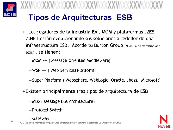 Tipos de Arquitecturas ESB + Los jugadores de la industria EAI, MOM y plataformas