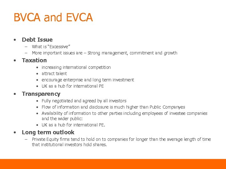"""BVCA and EVCA • Debt Issue – – • What is """"Excessive"""" More important"""
