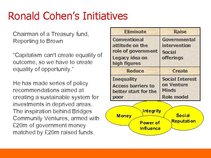 """Ronald Cohen's Initiatives Chairman of a Treasury fund, Reporting to Brown """"Capitalism can't create"""
