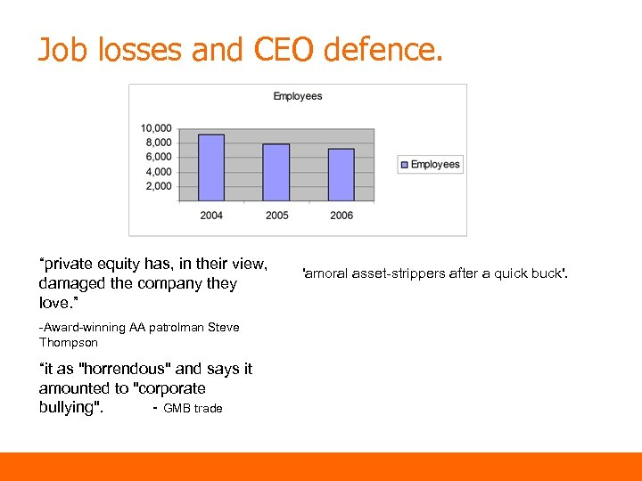 """Job losses and CEO defence. """"private equity has, in their view, damaged the company"""