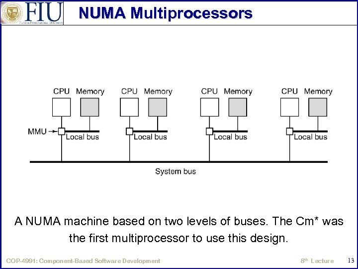 NUMA Multiprocessors A NUMA machine based on two levels of buses. The Cm* was