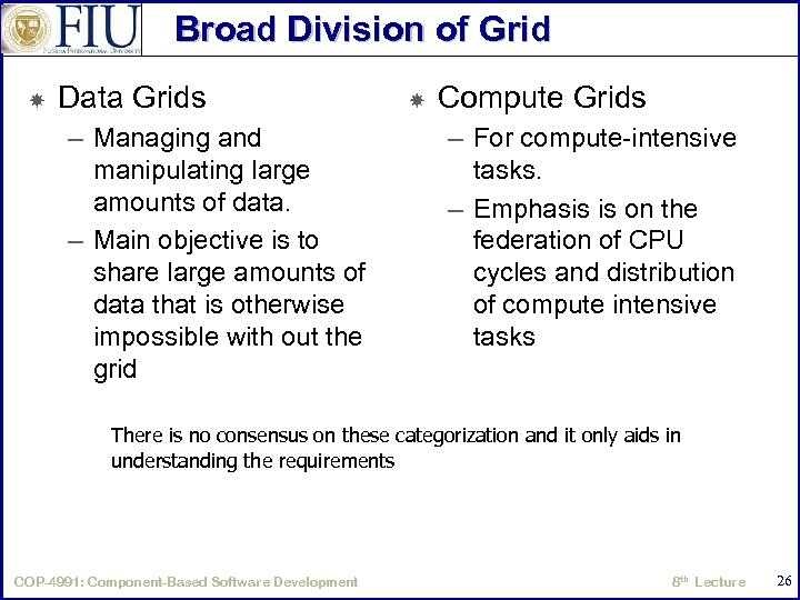 Broad Division of Grid Data Grids – Managing and manipulating large amounts of data.