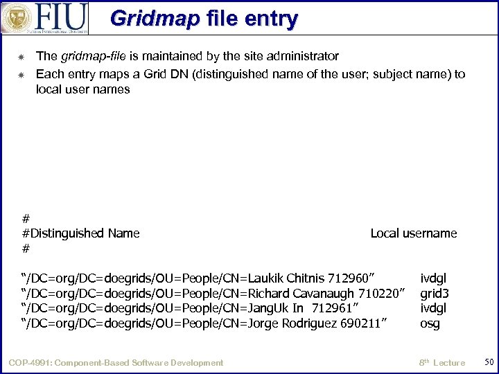 Gridmap file entry The gridmap-file is maintained by the site administrator Each entry maps